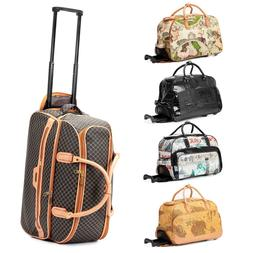 """21"""" Rolling Wheeled Duffle Trolley Bag Tote Carry On Travel"""