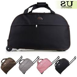 """24"""" Rolling Wheeled Duffle Trolley Bag Tote Carry On Travel"""