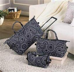 3-PC TRENDY ROLLING DUFFEL TOTE TOILETRY BAG LUGGAGE SET 3 P