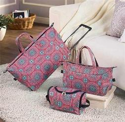3-PC TRENDY ROLLING DUFFEL TOTE TOILETRY BAG LUGGAGE SET MED