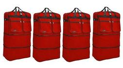 """4-Pack 40"""" Red  Expandable Rolling Wheeled Duffle Bag Spinne"""