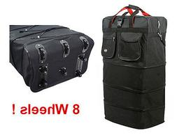 """36"""" Black Rolling Expandable Duffle Bag Spinner Suitcase Lug"""