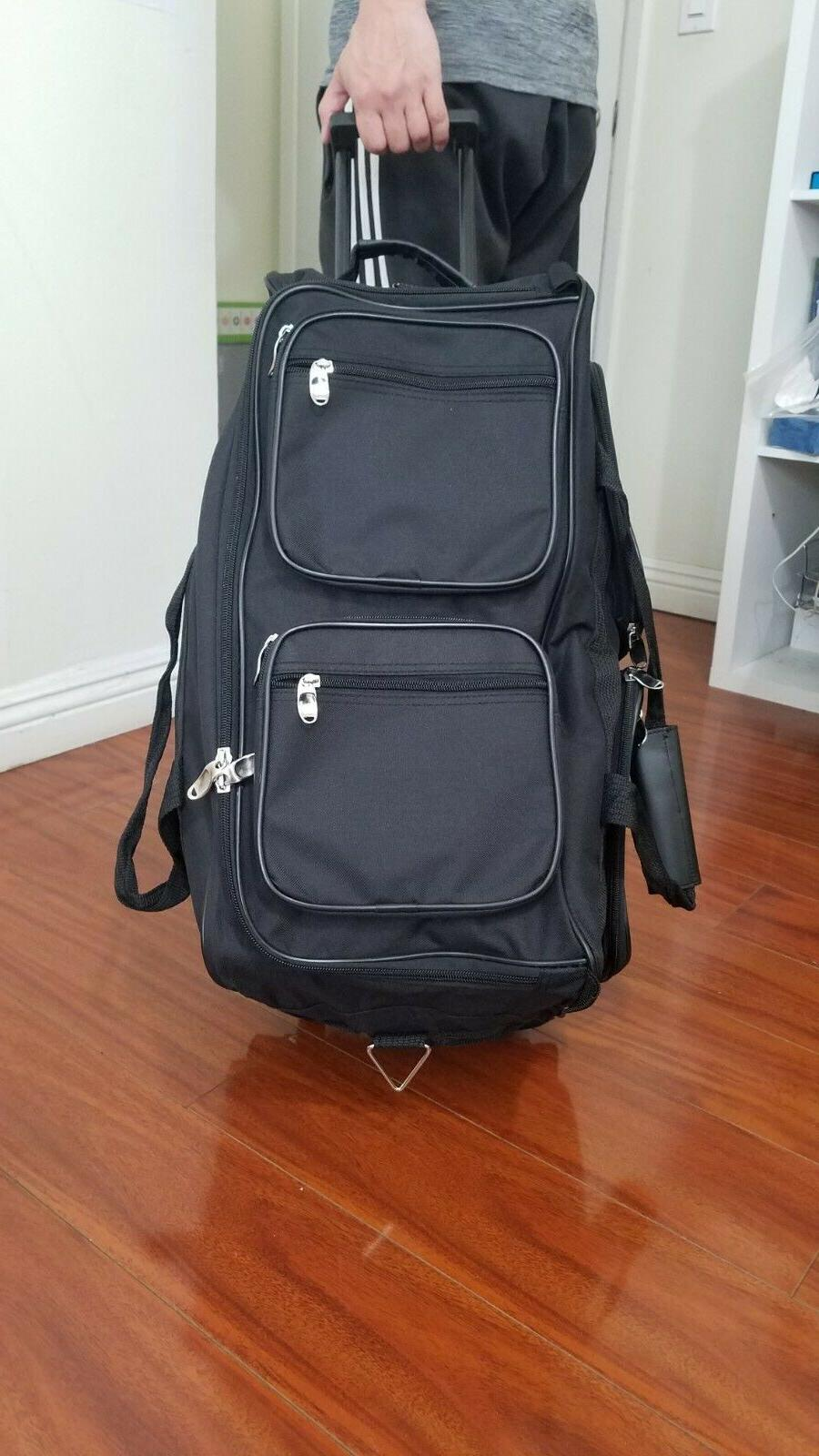 22 black rolling duffel bag with 5