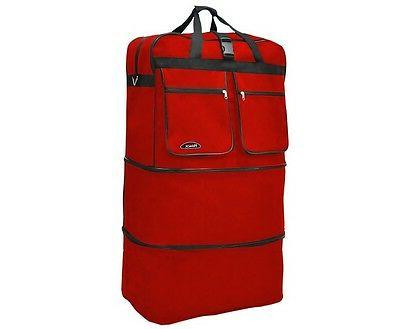 40 red rolling wheeled duffle bag spinner
