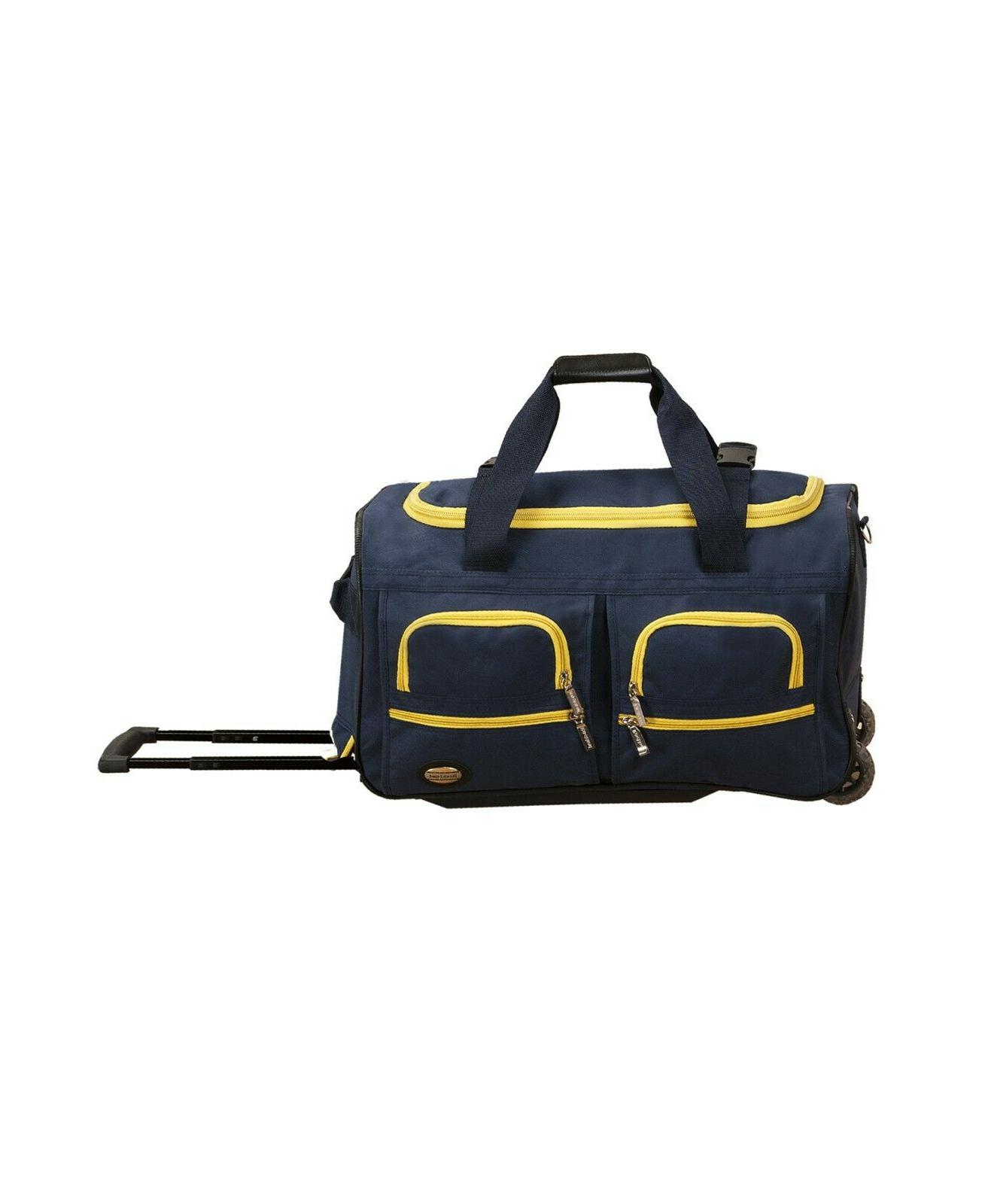 Rockland Luggage Blue with Yellow Rolling With Wheels