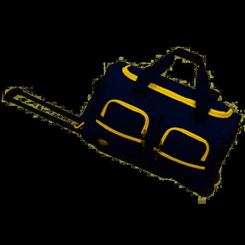 luggage blue with yellow rolling duffel bag