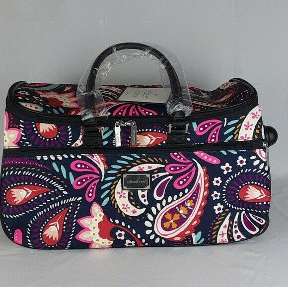 rolling duffel bag luggage painted paisley new