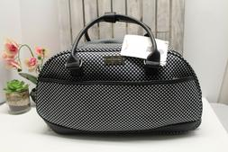 """Jessica Simpson 20"""" Rolling Duffel Bag Black and white gin"""