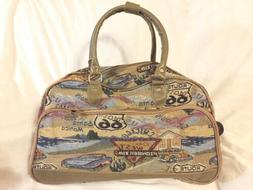 New Route 66 Tapestry Carry-On Bag Duffel Travel Luggage Rol