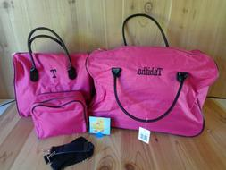 Pink Tabitha Travel Luggage 3 Pcs Rolling Duffle Bag Tote an