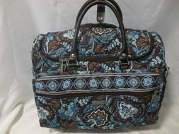Vera Bradley Rolling Duffle Bag - Carry-On Brown and Turquoi