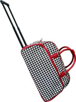 """Women's Red Houndstooth 21"""" Rolling Duffel Bag Suitcase Garm"""